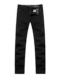 casuales color puro pantalones rectos de Y · kay hombres b10026 negro