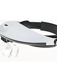 múltipla lente de duas vias regulação cabeça vestindo lupa com 2-levou luz (3 x AAA)
