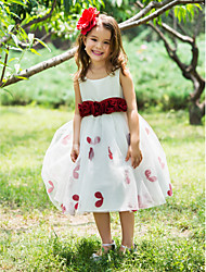 Ball Gown Tea-length Flower Girl Dress - Polyester Scoop / Square with Bow(s) / Flower(s) / Sash / Ribbon