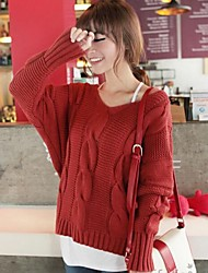 Women's Fashion Pure Twist V Neck Batwing Sleeve Sweater