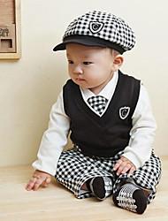 Boy's Turn-down Collar Long Sleeve White Shirts + Black Vest + Plaid Bow Tie + Cap + Pants 5Pcs Suit