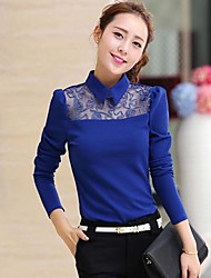 Women's Lace Black/Blue/Yellow Blouse , Shirt Collar Long Sleeve Lace