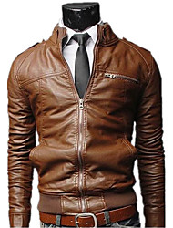 LangTuo Short Type Slim Stand Collar Causal Washing Locomotive Leather Coat(Light Brown)