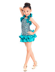 Dancewear Matte Satin And Lycra With Sequins Jazz/Mordern Dance Dress For Children/Ladies Kids Dance Costumes