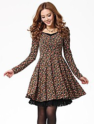 Women's Casual/Daily A Line / Skater Dress,Print V Neck Above Knee Long Sleeve Blue / Orange Fall