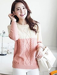 Women's Fresh Contrast Color Twist Round Collar Knitwear Sweater