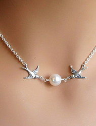 Shixin® Fashion Pearl Bird Shape Silver Pendant Necklace(1 Pc)