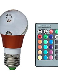 JIAWEN® E27 3W RGB 16 Colors Crystal Led Bulb with Remote Controller (AC 100-220V)