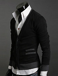 moda cor sólida manga longa camisola dos homens CQA