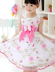 Girl's Floral Dress,Cotton / Organza Summer Pink / White