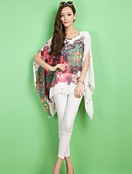 Zian® Women's Round Neck Casual Fashion Loose Flower Print Chiffon Irregular Shirt