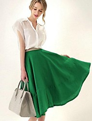 Women's Stand Collar Chiffon Short Sleeve Shirt And Tall Waist Pure Color Skirt Suit(shirt&skirt)