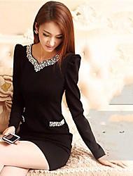 moda grânulos finos vestido das mulheres v pescoço