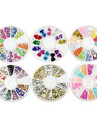 2600pcs смешанный многоцветные розы звезды перлы форма украшения искусства ногтя