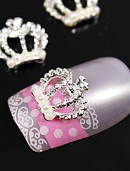 10pcs   Pearl Crown 3D Rhinestones  Alloy Nail Art Decoration