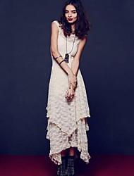 Women's Street Style Lace Irregular Maxi Dress