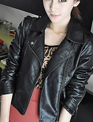 Women's PU Leather Motorcycle Short Paragraph Slim Coat