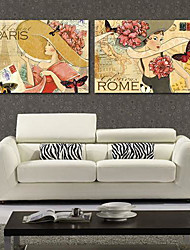Stretched Canvas Print Art Vintage Posters of PARIS and ROME Set of 2