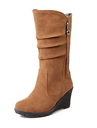 Women's Shoes Round Toe Wedge Heel Flocking Mid-Calf Boots More Colors available