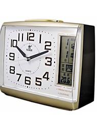 """potere ™ 4.7 """"h stile forma quadrata lcd notte-luce perpetua termometro calendario snooze muto eccellente sveglia d'oro"""