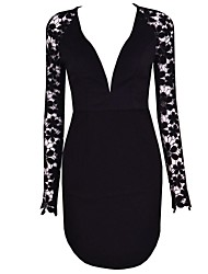 Women's Lace/Solid Black/White Dress , Sexy/Lace Deep V Long Sleeve