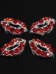 10шт сексуальная губа полная красные стразы 3d сплав ногтей украшения