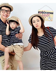 Family's Fashion Joker Leisure Parent Child Short Sleeves Stripe T Shirt And Dress