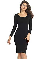Women's Solid Black Dress , Bodycon Round Neck Long Sleeve Backless/Mesh