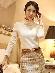 Women's Spun Gold Crew Neck Bead Embellish Slim Long Sleeve Shirt