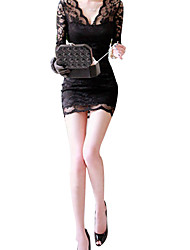 Women's Bodycon Lace Long Sleeve V Neck Shirt