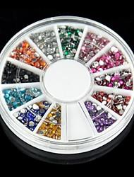 2000pcs 12 цветов 2мм Nail Art Стразы украшение для акриловых систем УФ-гель
