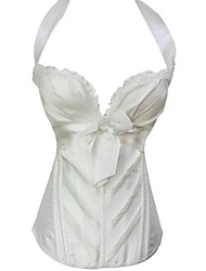 Women Overbust Corset Nightwear Solid Polyester / Spandex White / Black Women's