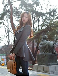 Women's Band Collar V Neck Peplum Wool Coat