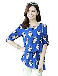 New Korean Chiffon Floral Print Short Sleeve Puff Sleeve