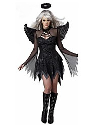 Dark Angel Black Dress With Wings Adult Woman's Halloween Costumefor Carnival