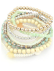 Bracelet Candy Color Multilayer Acrylic Beads Strand Bracelet(Random Color)