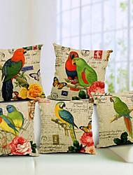 Set of 5 Parrot Pattern Cotton/Linen Decorative Pillow Cover