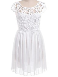 Women's Holiday A Line / Skater Dress,Solid Round Neck Mini Short Sleeve White Spring / Summer