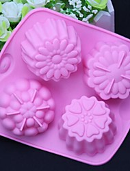 4 Hole Different Flowers Shape Cake Ice Jelly Chocolate Molds,Silicone 14×15.5×3 CM(5.5×6.1×1.2 INCH) (Random Color)