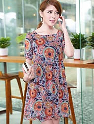 Women'S Round Neck Retro Print Dress