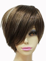 Capless Synthetic Short Straight Brown Mixed Color Synthetic Hair Wig