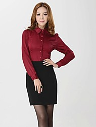 Women's Turtle Neck Solid Color Sweet Slim Long Sleeve Shirts