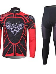XINTOWN Men's Wolf Quick Dry Moisture Absorption Long Sleeve Cycling Suit—Red+Black