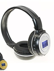 D-65 Plug Card Style Hi-Fi Digital Stereo Music Wireless Headphone for FM SD Card Slot LCD Display-Gold/Silver