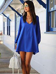 color sólido de las mujeres qsh ajuste holgado vestido de manga larga
