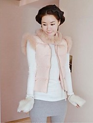 Women's Fashion Rabbit Fur Collar Winter Down Cotton Vest
