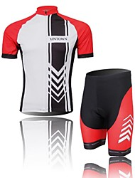XINTOWN Men's Arrow Quick Dry Moisture Absorption Short Sleeve Cycling Suit—Red+White