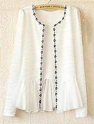 Women's Black/Orange/White Coat , Casual Long Sleeve Lace/Polyester