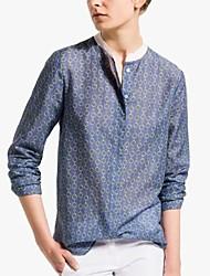 Women's Splicing Color Collar Chain Print Shirt