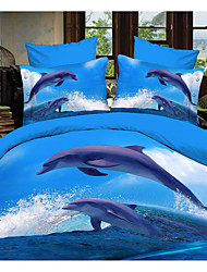 Shuian® Duvet Cover Set,4 Piece Suit Comfort Simple Modern Ventilation Printed 3D Dolphin Pattern Full